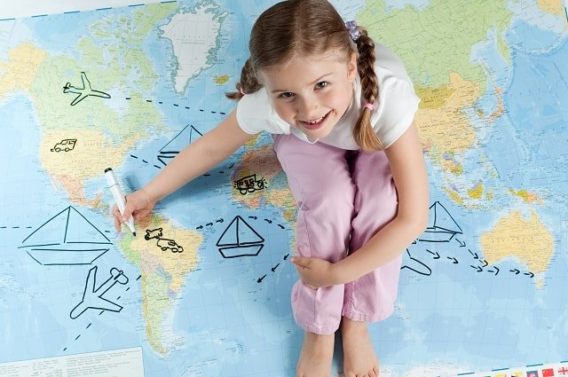 Girl Drawing Map
