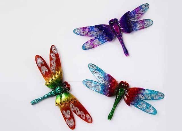 Glitzy plastic spoon dragonfly